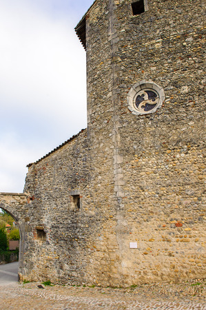 Medieval architecture of Perouges, France, a walled town, a popular touristic attraction. Stock Photo