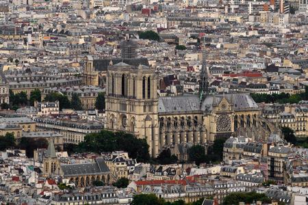 Aerial view of Notre Dame de Paris, France
