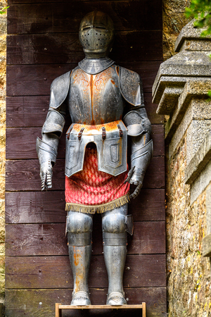 Knight armour on the territory of Le Mont Saint-Michel, an island commune in Normandy, France. UNESCO World Heritage