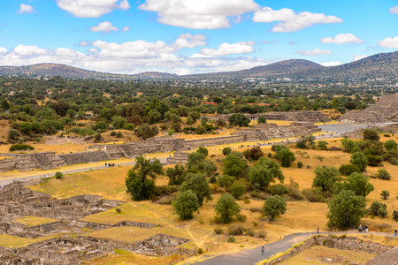 Panorama of Teotihuacan from the Piramid of the Sun, site of many Mesoamerican pyramids built in the pre-Columbian Americas.