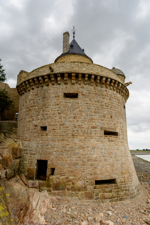 Fortification of the  Mont Saint-Michel, an island commune in Normandy, France. UNESCO World Heritage