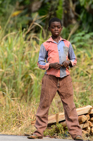 KUMASI, GHANA - Jan 16, 2017: Unidentified Ghanaian boy stands near the tree branches . Children of Ghana suffer of poverty due to the bad economy