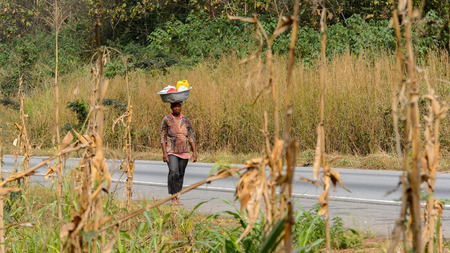 KUMASI, GHANA - Jan 16, 2017: Unidentified Ghanaian woman carries a basin on her head along the road . People of Ghana suffer of poverty due to the bad economy