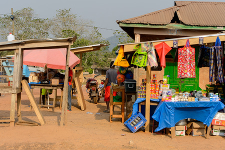 CENTRAL REGION, GHANA - Jan 17, 2017: Unidentified Ghanaian people stand in local village. People of Ghana suffer of poverty due to the bad economy