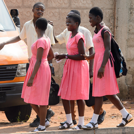 CENTRAL REGION, GHANA - Jan 17, 2017: Unidentified Ghanaian pupils in school uniform in local village. Children of Ghana suffer of poverty due to the bad economy