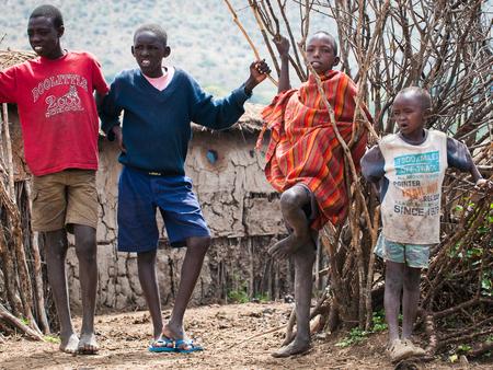 AMBOSELI, KENYA - OCTOBER 10, 2009: Unidentified Massai people in Kenya, Oct 10, 2009. Massai people are a Nilotic ethnic group