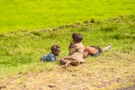 OMO, ETHIOPIA - SEPTEMBER 19, 2011: Unidentified Ethiopian children in the field. People in Ethiopia suffer of poverty due to the unstable situation 新闻类图片