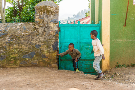 OMO, ETHIOPIA - SEPTEMBER 21, 2011: Unidentified Ethiopian children in the street . People in Ethiopia suffer of poverty due to the unstable situation