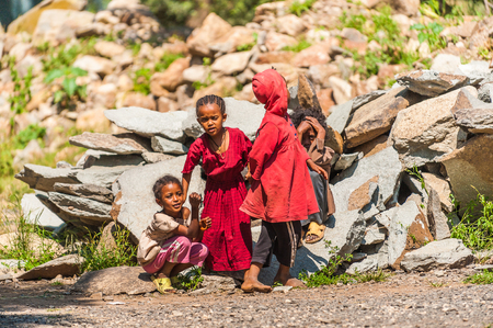 OMO, ETHIOPIA - SEPTEMBER 21, 2011: Unidentified Ethiopian girls in the street. People in Ethiopia suffer of poverty due to the unstable situation 報道画像