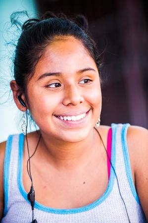 MANAGUA, NICARAGUA - JAN 6, 2012: Unidentified Nicaraguan girl portrait. 69% of Nicaranguan people belong to the Mestizo ethnic group