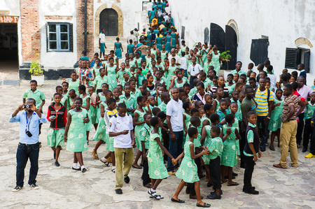 GHANA, ACCRA - MARCH 2, 2012: Group of students of the Saint Leo International School  came to see the Elmina Castle in Accra, Ghana, on March 2nd, 2012. Children from all faiths may study in the St Leo School.