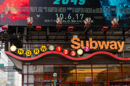 NEW YORK, USA - SEP 16, 2017:  Subway of Manhattan, New York City, United States of America