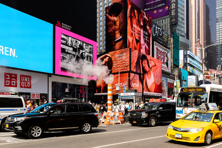NEW YORK, USA - SEP 16, 2017: Commercial screens of the Times Square, Manhattan, New York City, United States of America