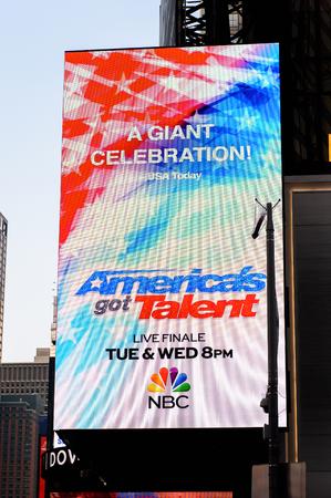 NEW YORK, USA - SEP 16, 2017: America's got talents screen, of Manhattan, New York City, United States of America