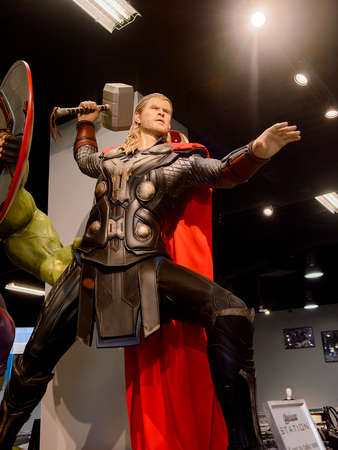 LAS VEGAS, NV, USA - SEP 20, 2017: Chris Hemsworth as Thor at the Avengers Station complex in Las Vegas.