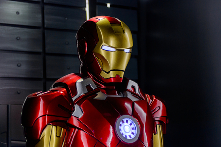LAS VEGAS, NV, USA - SEP 20, 2017: Iron Man costume (from 2010 movie) at the Tony Stark base at the Avengers experience in Las Vegas. Editorial