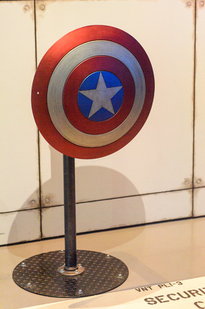 LAS VEGAS, NV, USA - SEP 20, 2017: Captain America's shield at the Avengers Station complex in Las Vegas.