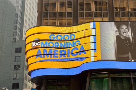 NEW YORK, USA - SEP 16, 2017: Good morning America screen, Manhattan, New York City, United States of America 에디토리얼