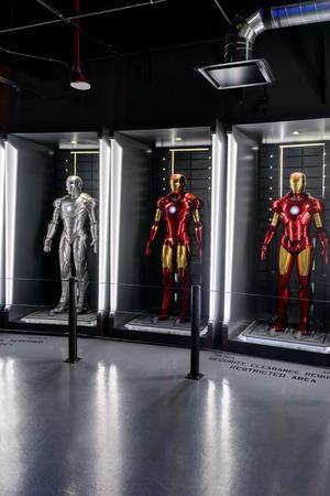 LAS VEGAS, NV, USA - SEP 20, 2017: Iron Man costumes at the Tony Stark base at the Avengers experience in Las Vegas. Sajtókép