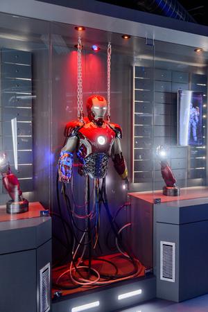 LAS VEGAS, NV, USA - SEP 20, 2017: Destoyed Iron Man costume at the Tony Stark base at the Avengers experience in Las Vegas.