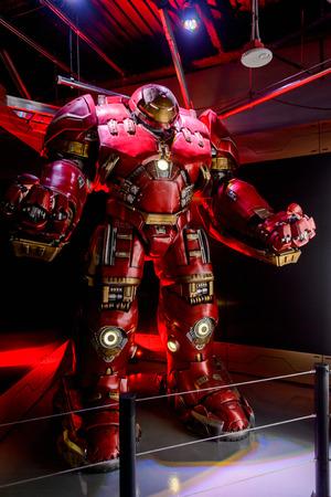 LAS VEGAS, NV, USA - SEP 20, 2017: Hulk Buster Iron Man costume at the Tony Stark base at the Avengers experience in Las Vegas.