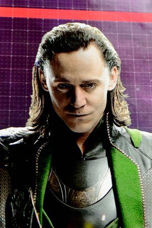 LAS VEGAS, NV, USA - SEP 20, 2017: Tom Hiddleston as Loki on the screen Avengers Station complex in Las Vegas. Publikacyjne