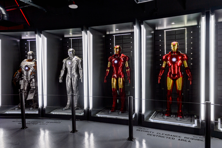 LAS VEGAS, NV, USA - SEP 20, 2017: Iron Man costumes at the Tony Stark base at the Avengers experience in Las Vegas. Редакционное