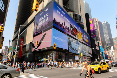 NEW YORK, USA - SEP 16, 2017: Commercial boards of Manhattan, New York City, United States of America