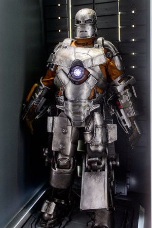 LAS VEGAS, NV, USA - SEP 20, 2017: Original Iron Man costume at the Tony Stark base at the Avengers experience in Las Vegas.