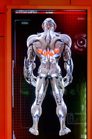 LAS VEGAS, NV, USA - SEP 20, 2017: Ultron image on the screen at the Avengers Station complex in Las Vegas.