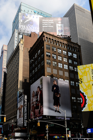 NEW YORK, USA - SEP 16, 2017: Commercial boards of the Times Square, Manhattan, New York City, United States of America