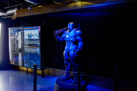 LAS VEGAS, NV, USA - SEP 20, 2017: War Machine at Tony Stark base at the Avengers experience in Las Vegas. Редакционное