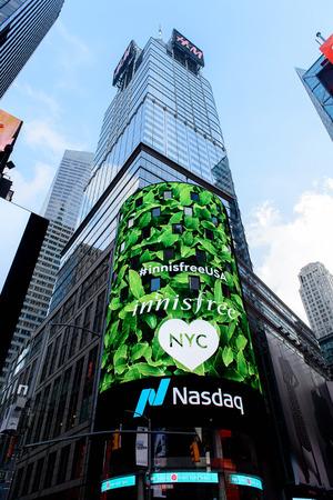 NEW YORK, USA - SEP 16, 2017: Commercial screens, Manhattan, New York City, United States of America