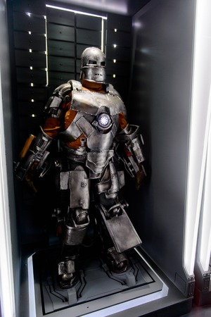 LAS VEGAS, NV, USA - SEP 20, 2017: Original prototype for the Iron Man costume at the Tony Stark base at the Avengers experience in Las Vegas. Редакционное