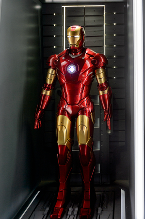 LAS VEGAS, NV, USA - SEP 20, 2017: Red and Yellow Iron Man costume at the Tony Stark base at the Avengers experience in Las Vegas. Sajtókép
