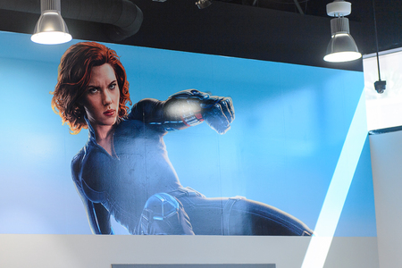 LAS VEGAS, NV, USA - SEP 20, 2017: Poster of Scarlett Johansson as Black Widow at the Avengers Station complex in Las Vegas. Banco de Imagens - 114100836
