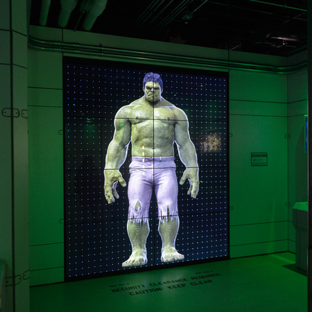 LAS VEGAS, NV, USA - SEP 20, 2017: Hulk on the screen at the Avengers Station complex in Las Vegas.