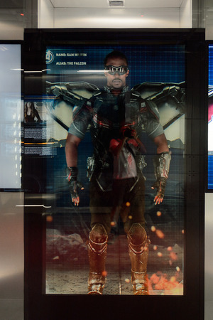 LAS VEGAS, NV, USA - SEP 20, 2017: Sam Wilson the Falcon on the screen at the Avengers Station complex in Las Vegas. Redakční