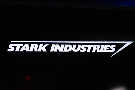 LAS VEGAS, NV, USA - SEP 20, 2017: Stark Industries logo at the Tony Stark base at the Avengers experience in Las Vegas.