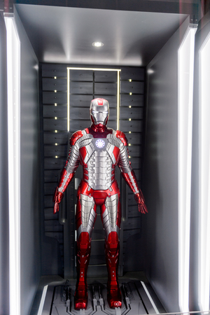LAS VEGAS, NV, USA - SEP 20, 2017: Grey and red Iron Man costume at the Tony Stark base at the Avengers experience in Las Vegas.