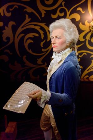 VIENNA, AUSTRIA - OCT 4, 2017: Wolfgang Amadeus Mozart,  an influential composer of the Classical era, Madame Tussauds wax museum in Vienna. Editorial