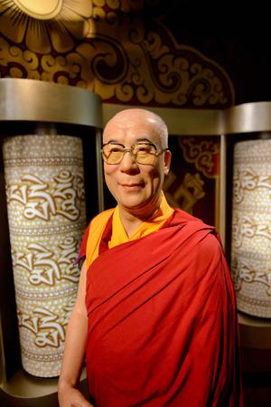 VIENNA, AUSTRIA - OCT 4, 2017: Dalai Lama, Madame Tussauds wax museum in Vienna.