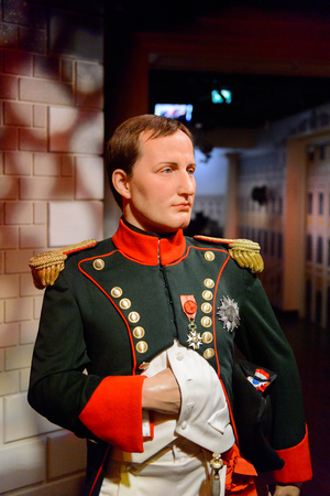 VIENNA, AUSTRIA - OCT 4, 2017: Napoleon Bonaparte, French military and political leader, Madame Tussauds wax museum in Vienna.