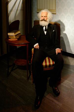 VIENNA, AUSTRIA - OCT 4, 2017: Karl Marx,a German philosopher, economist, political theorist, sociologist, journalist and revolutionary socialist, Madame Tussauds wax museum in Vienna.