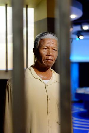 VIENNA, AUSTRIA - OCT 4, 2017: Nelson Rolihlahla Mandela in prison, President of South Africa, Madame Tussauds wax museum in Vienna.
