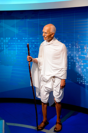 VIENNA, AUSTRIA - OCT 4, 2017: Mahatma Gandhi, the leader of the Indian independence movement against British rule, Madame Tussauds wax museum in Vienna.
