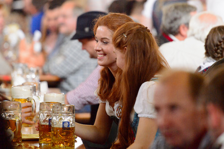MUNICH, GERMANY - OCT 2, 2017: Unidentified people at the Octoberfest, the world's largest festival