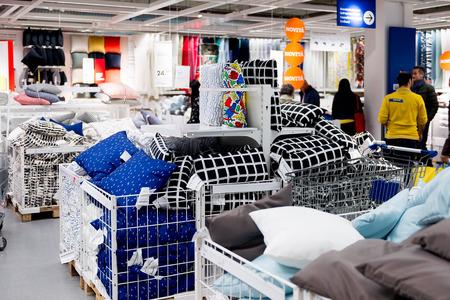 LUGANO, SWITZERLAND -NOV 4, 2017: Interior of the IKEA shop in Lugano, Switzerland. The company was found in Sweden in 1943 Editorial