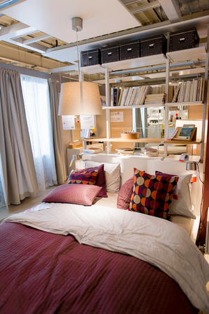 LUGANO, SWITZERLAND -NOV 4, 2017: Bed room in the IKEA shop in Lugano, Switzerland. The company was found in Sweden in 1943 Editorial
