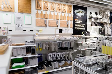 LUGANO, SWITZERLAND -NOV 4, 2017: Kitchen area of the IKEA shop in Lugano, Switzerland. The company was found in Sweden in 1943
